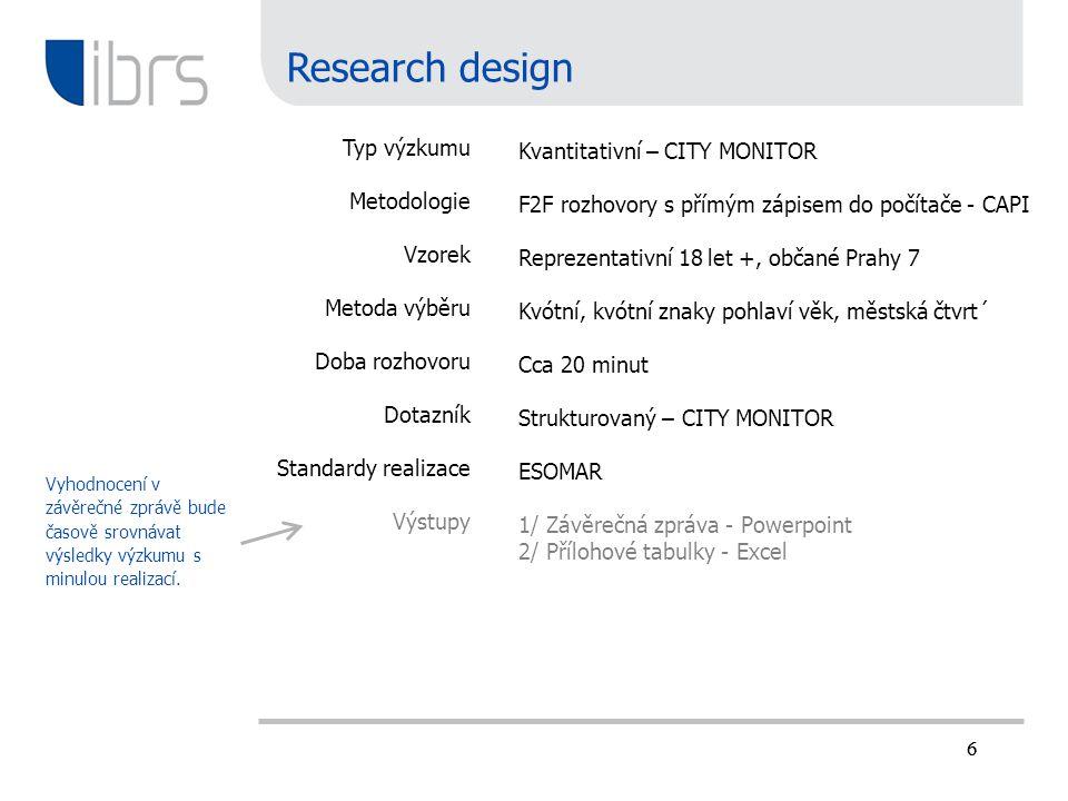 Research design Typ výzkumu Kvantitativní – CITY MONITOR Metodologie