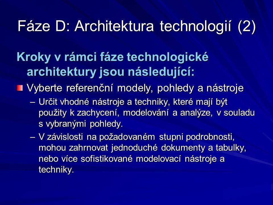 Fáze D: Architektura technologií (2)