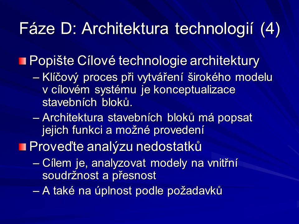 Fáze D: Architektura technologií (4)