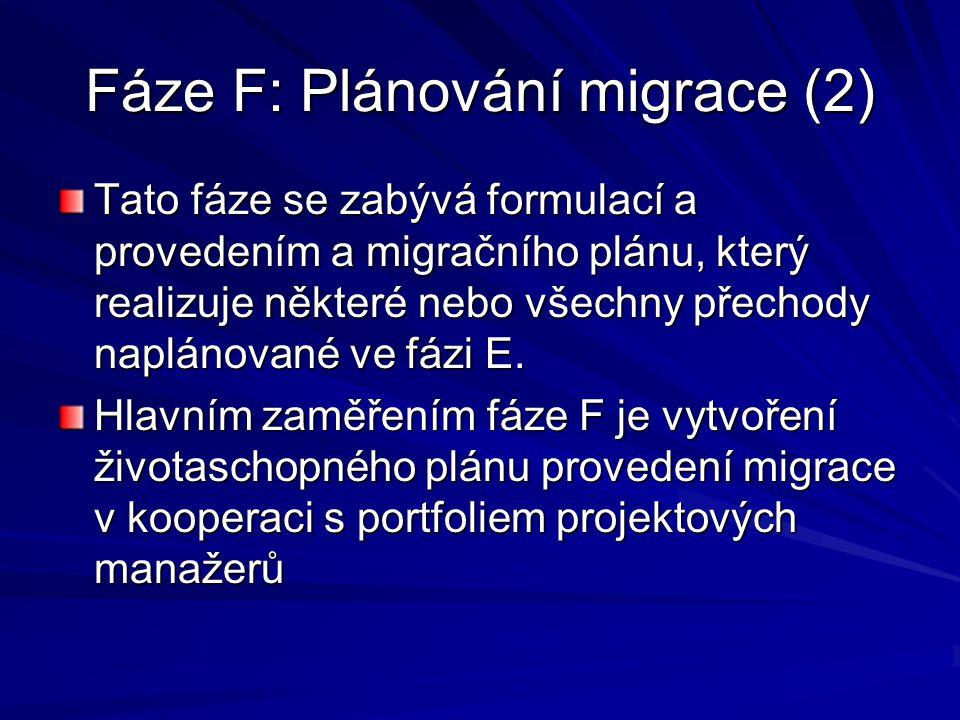 Fáze F: Plánování migrace (2)