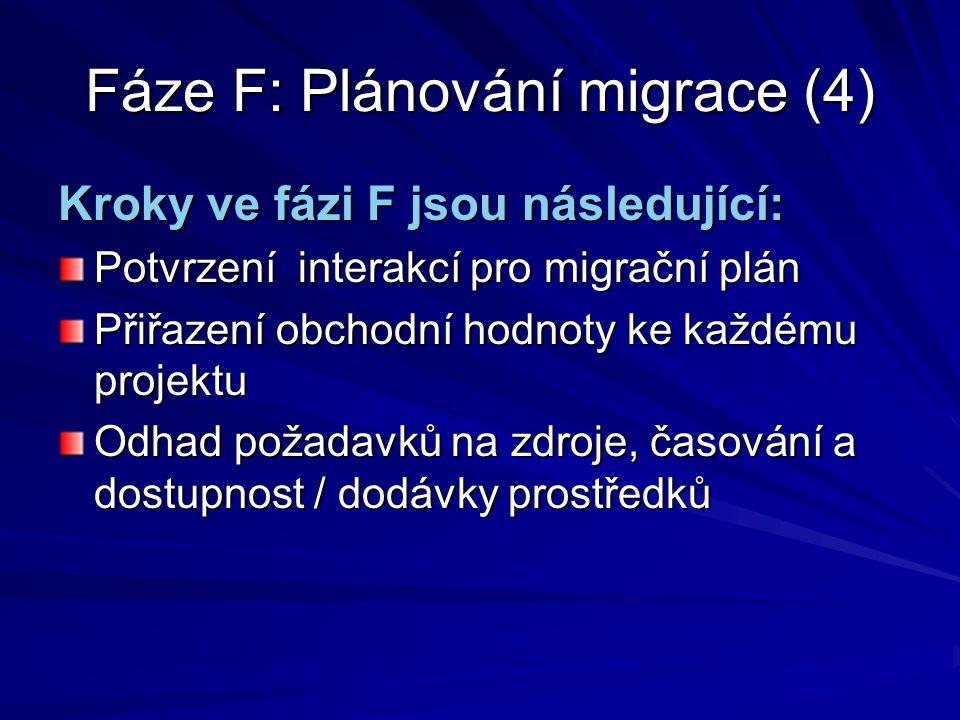 Fáze F: Plánování migrace (4)