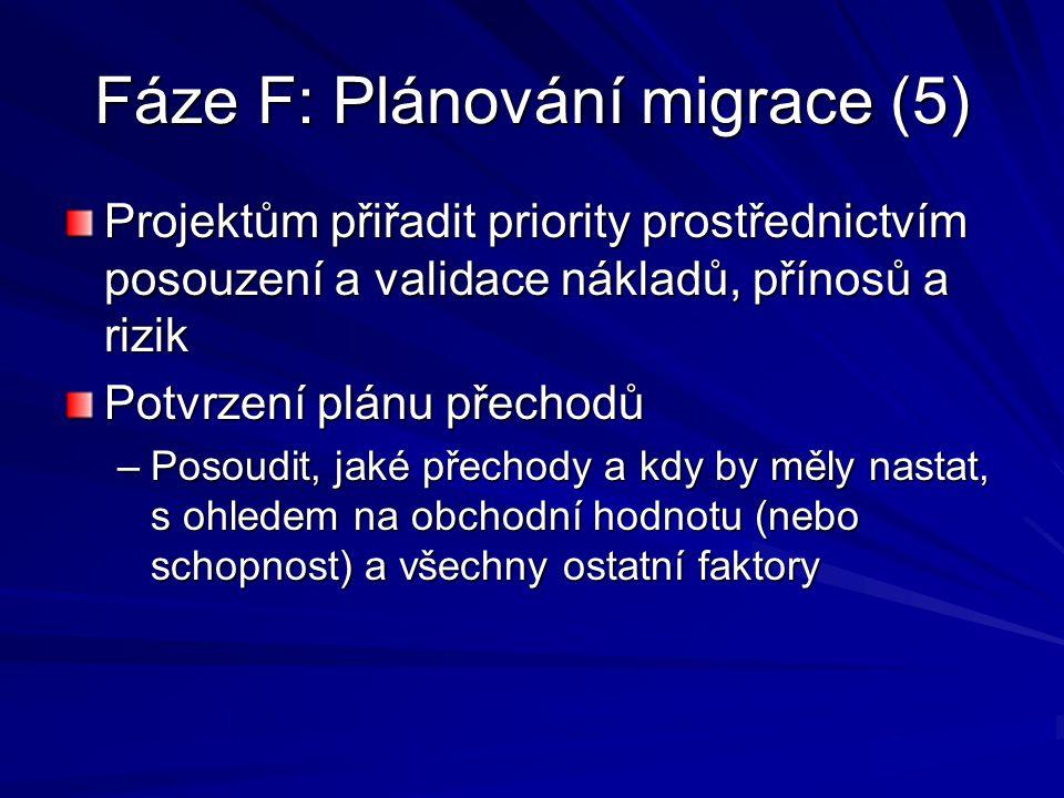 Fáze F: Plánování migrace (5)