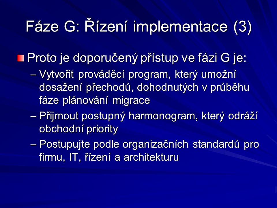 Fáze G: Řízení implementace (3)