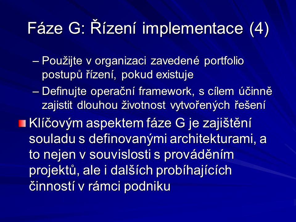 Fáze G: Řízení implementace (4)