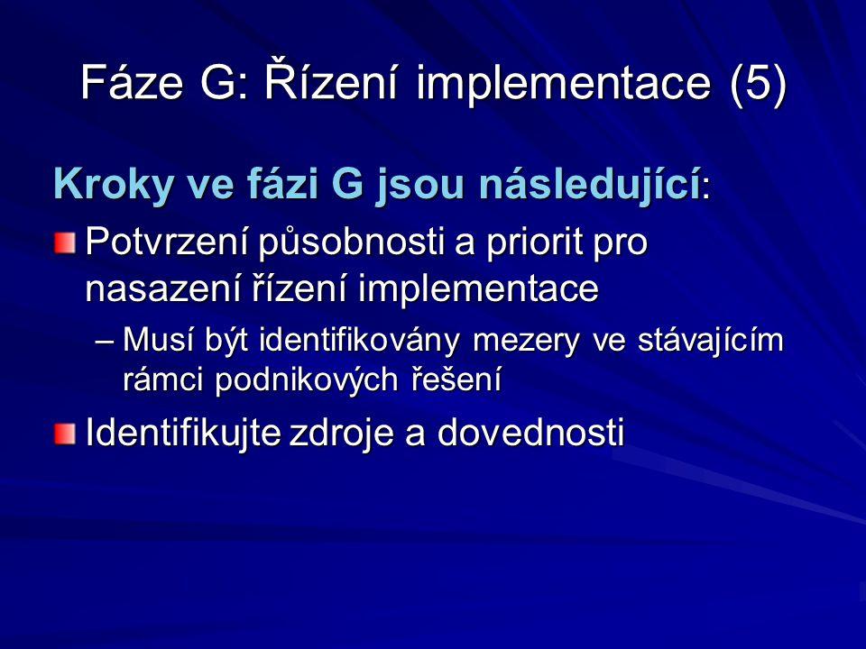 Fáze G: Řízení implementace (5)