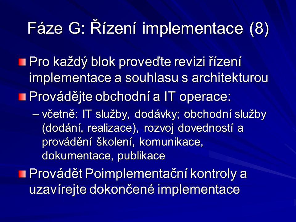 Fáze G: Řízení implementace (8)