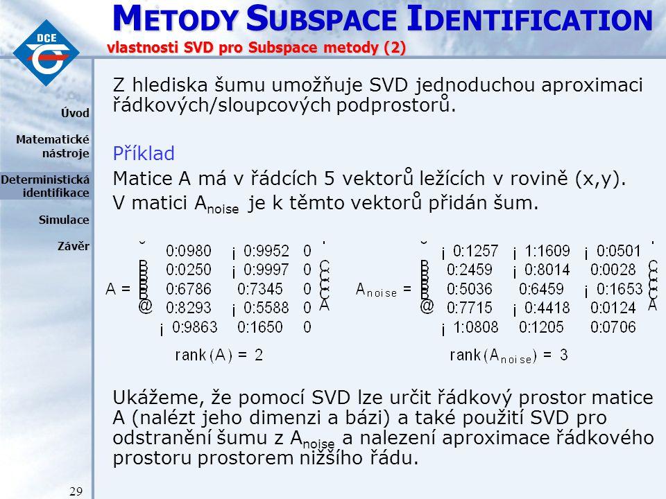 vlastnosti SVD pro Subspace metody (2)