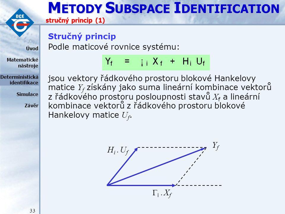 Yf Hi . Uf Stručný princip Podle maticové rovnice systému: