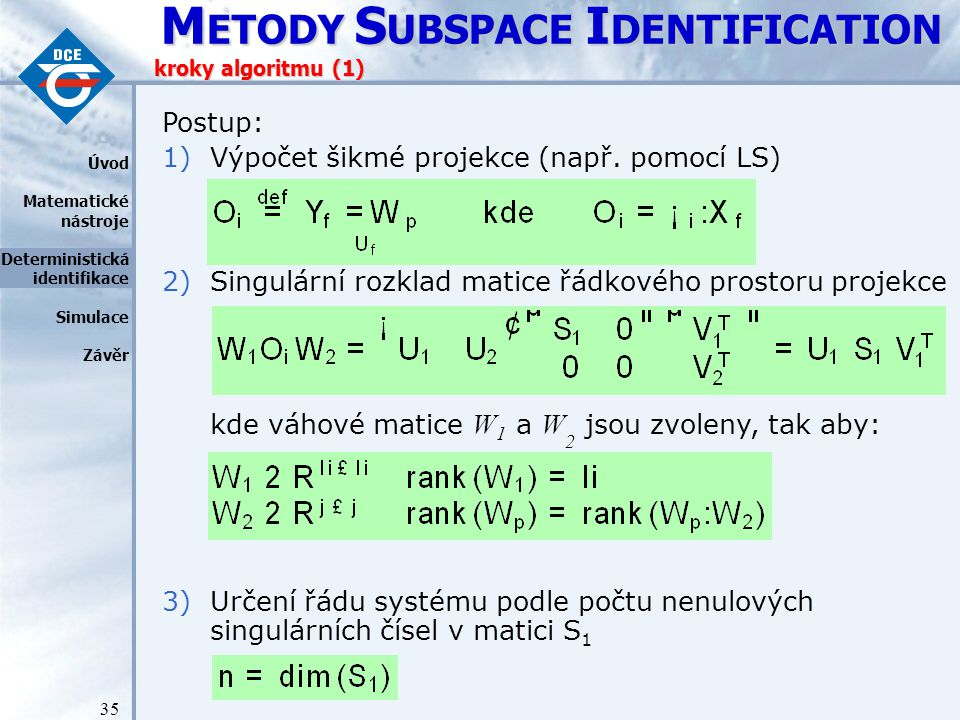 Výpočet šikmé projekce (např. pomocí LS)