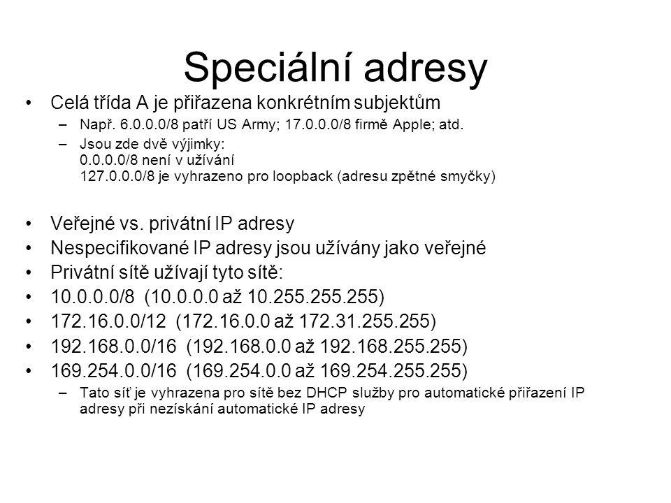 Speciální adresy Celá třída A je přiřazena konkrétním subjektům