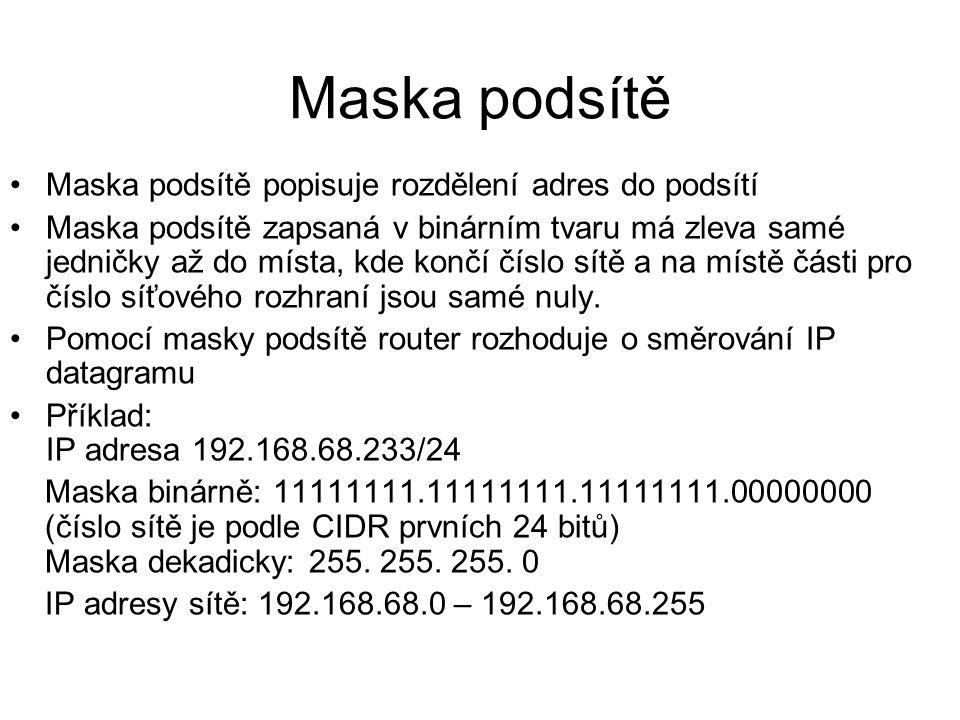 Maska podsítě Maska podsítě popisuje rozdělení adres do podsítí