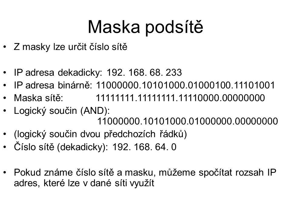 Maska podsítě Z masky lze určit číslo sítě