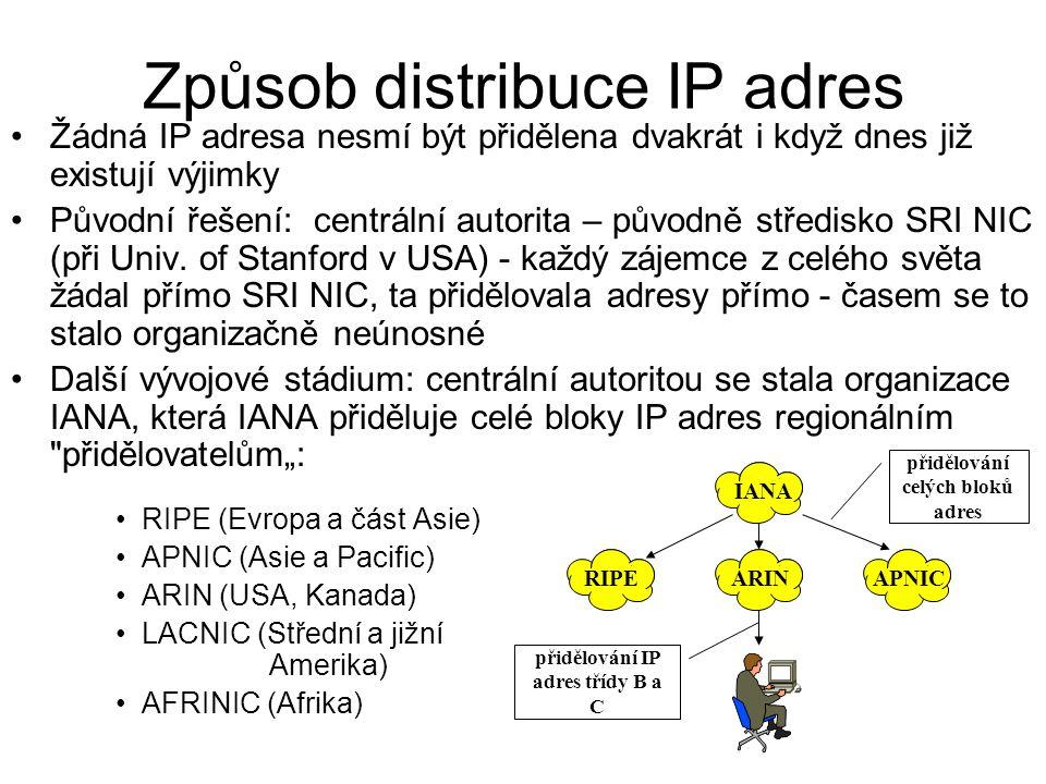 Způsob distribuce IP adres