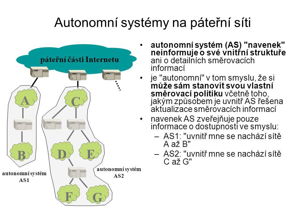 Autonomní systémy na páteřní síti