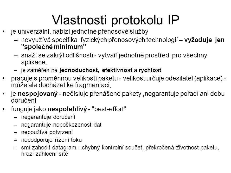 Vlastnosti protokolu IP