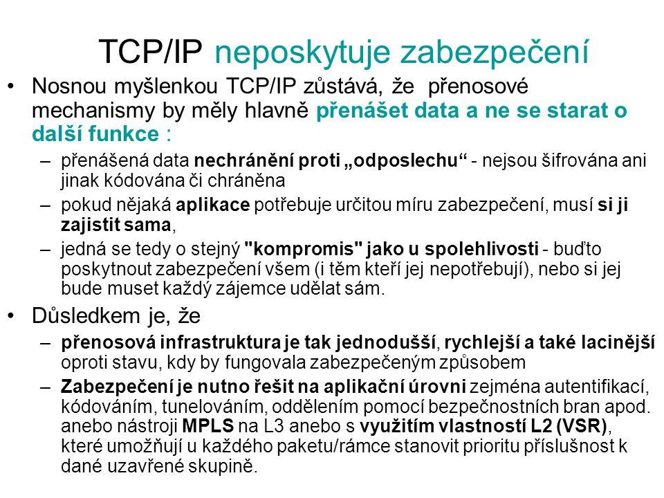 TCP/IP neposkytuje zabezpečení