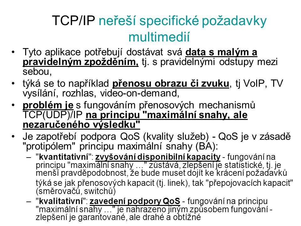 TCP/IP neřeší specifické požadavky multimedií