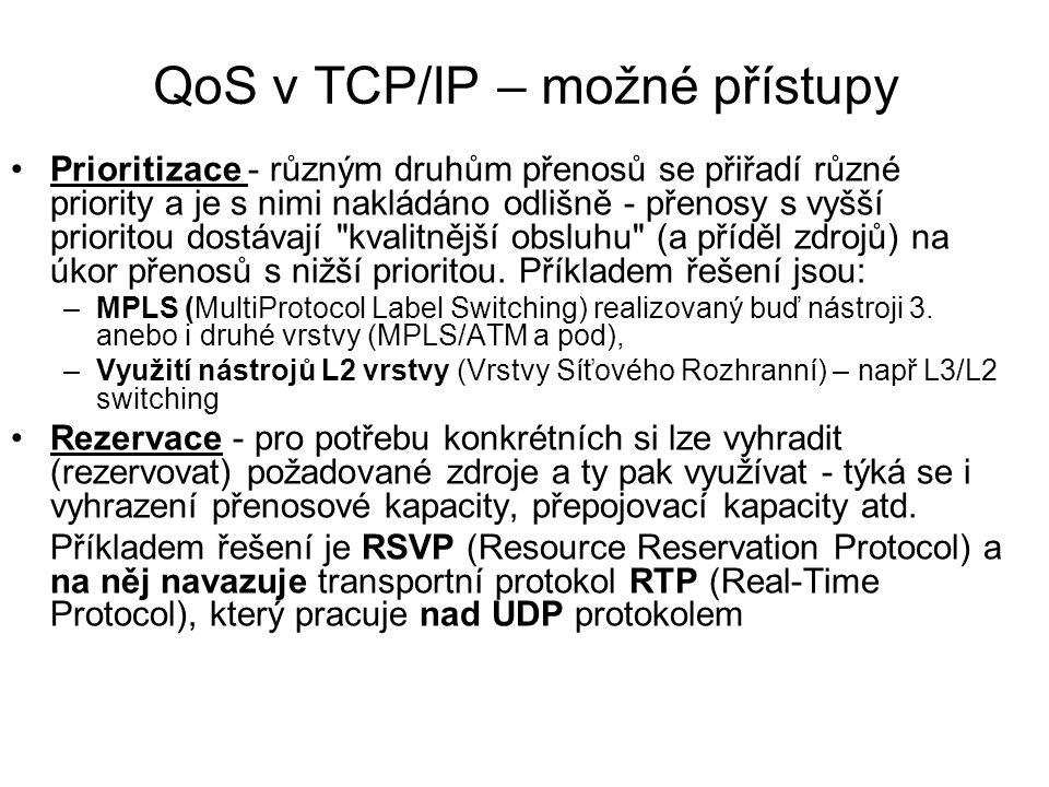 QoS v TCP/IP – možné přístupy