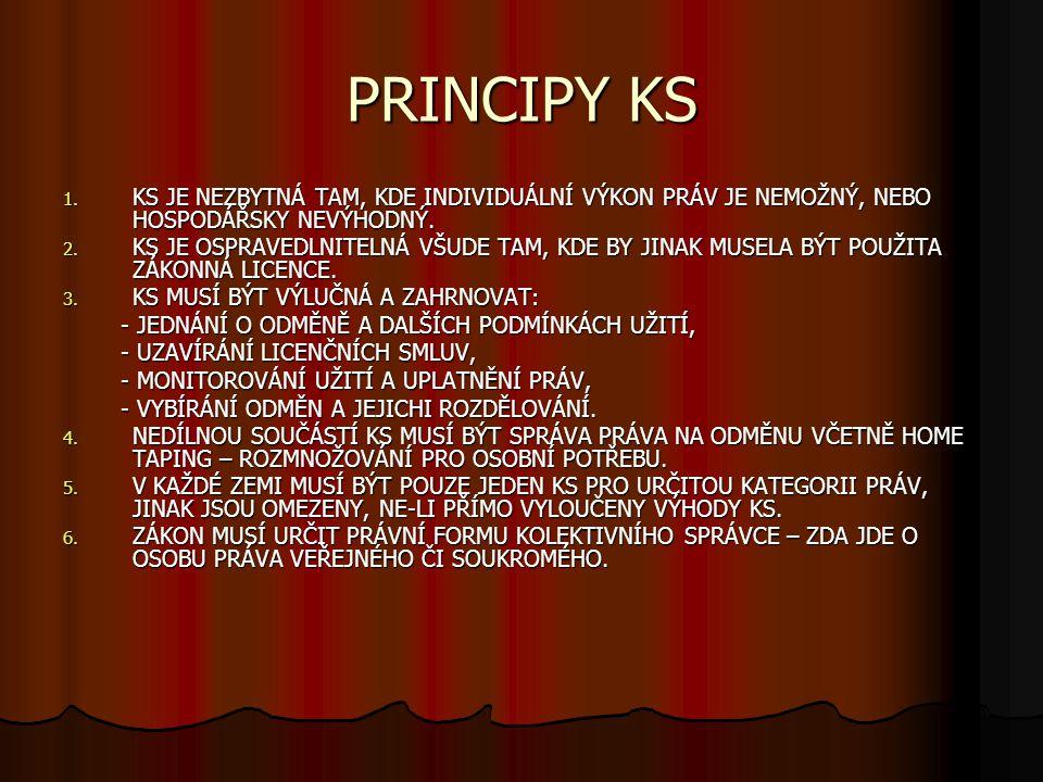 PRINCIPY KS KS JE NEZBYTNÁ TAM, KDE INDIVIDUÁLNÍ VÝKON PRÁV JE NEMOŽNÝ, NEBO HOSPODÁŘSKY NEVÝHODNÝ.