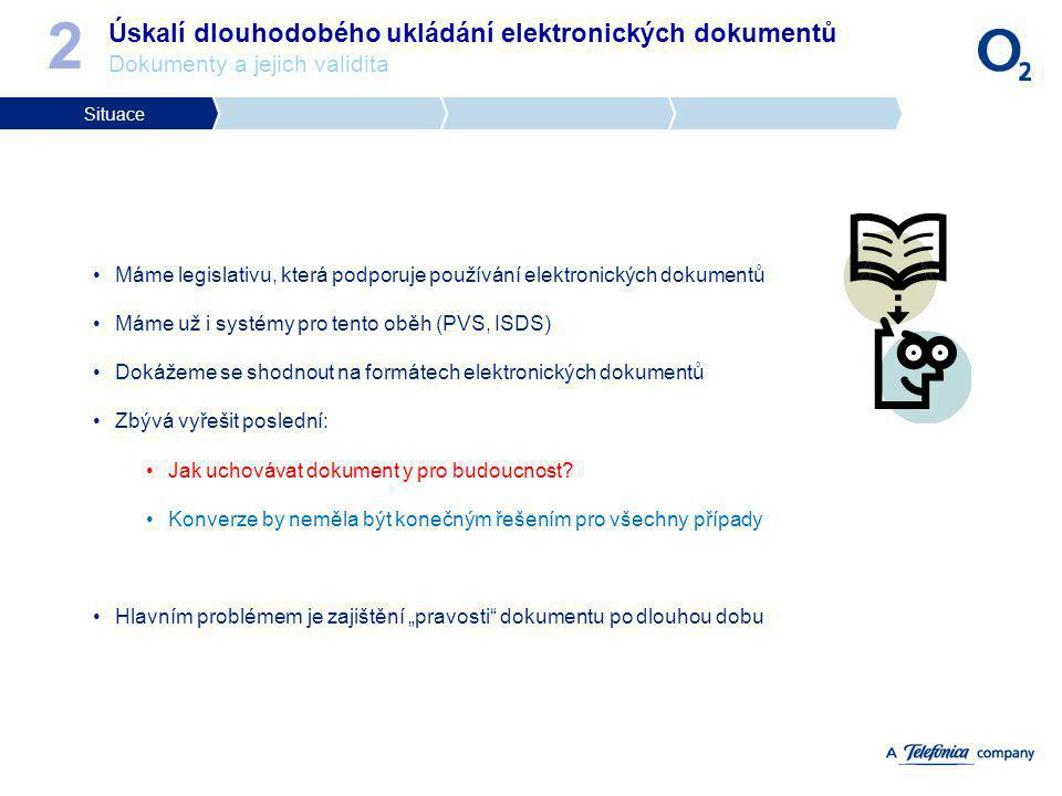 2 Úskalí dlouhodobého ukládání elektronických dokumentů Dokumenty a jejich validita. Situace.