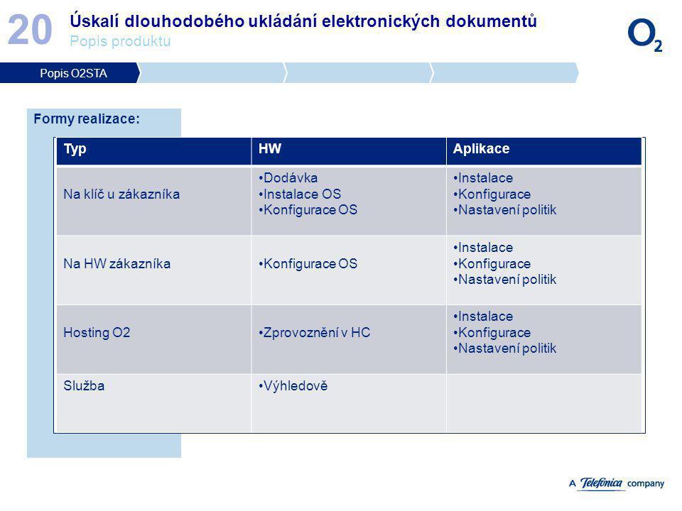 20 Úskalí dlouhodobého ukládání elektronických dokumentů Popis produktu. Popis O2STA. Formy realizace: