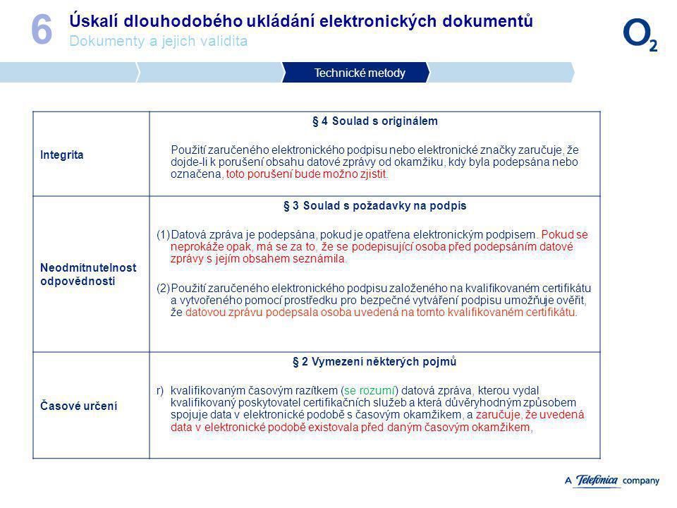 § 3 Soulad s požadavky na podpis § 2 Vymezení některých pojmů