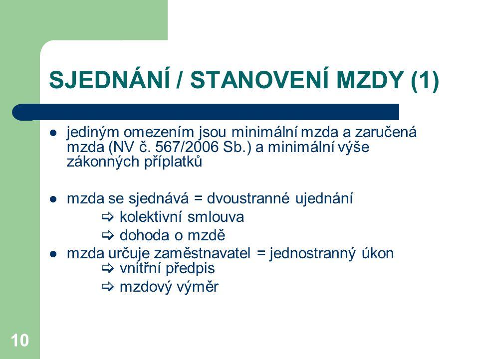 SJEDNÁNÍ / STANOVENÍ MZDY (1)