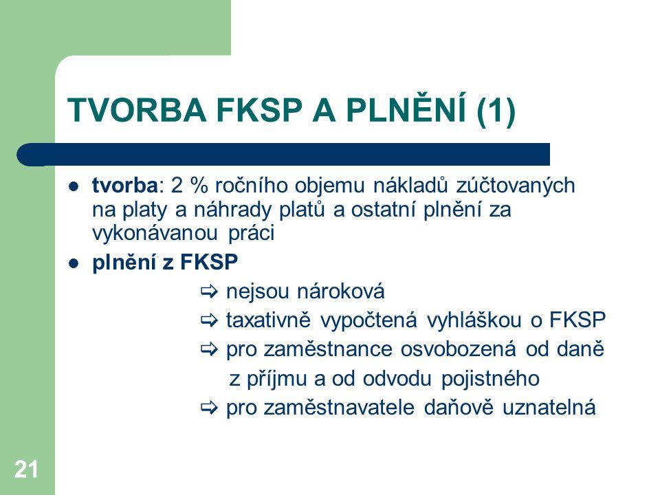 TVORBA FKSP A PLNĚNÍ (1) tvorba: 2 % ročního objemu nákladů zúčtovaných na platy a náhrady platů a ostatní plnění za vykonávanou práci.