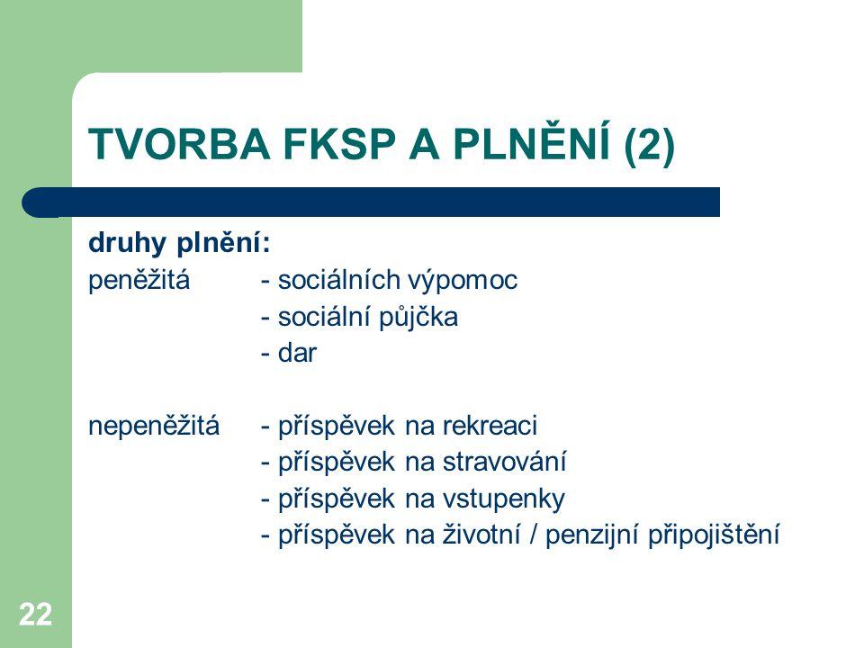 TVORBA FKSP A PLNĚNÍ (2) druhy plnění: peněžitá - sociálních výpomoc