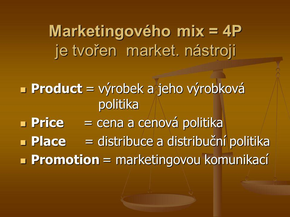 Marketingového mix = 4P je tvořen market. nástroji