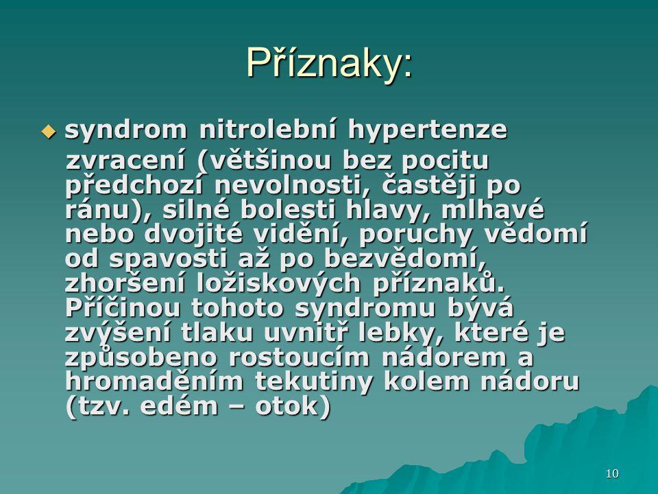Příznaky: syndrom nitrolební hypertenze
