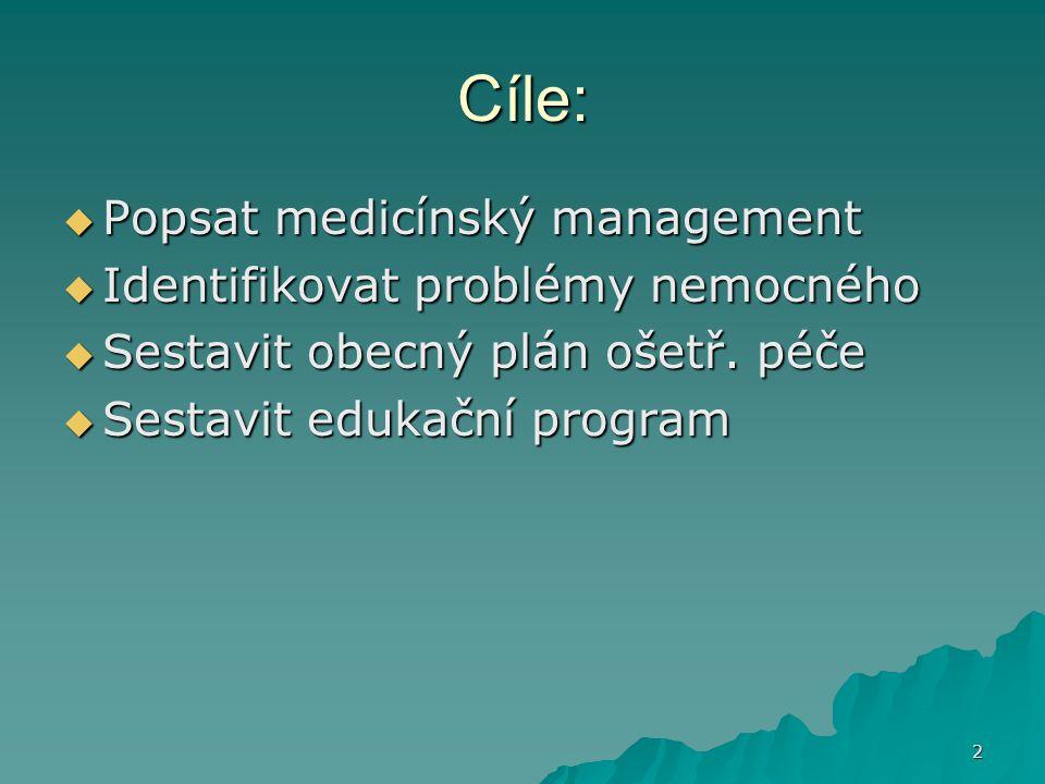 Cíle: Popsat medicínský management Identifikovat problémy nemocného