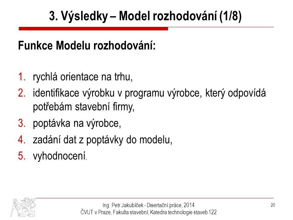 3. Výsledky – Model rozhodování (1/8)