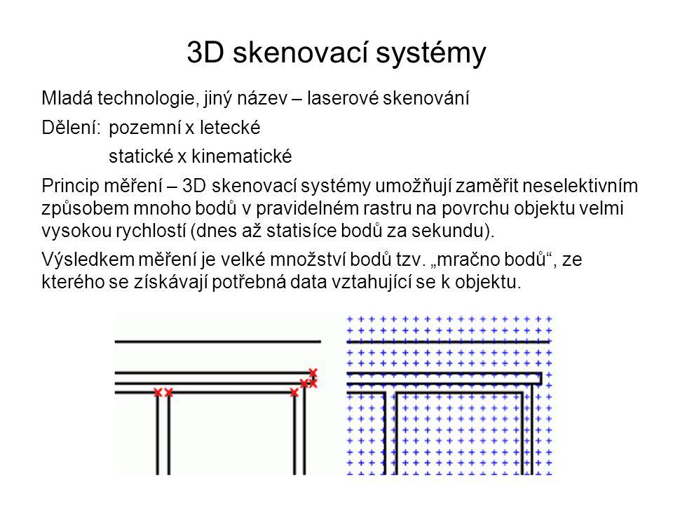 3D skenovací systémy Mladá technologie, jiný název – laserové skenování. Dělení: pozemní x letecké.