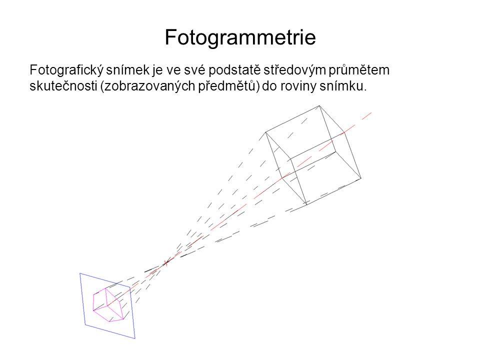 Fotogrammetrie Fotografický snímek je ve své podstatě středovým průmětem skutečnosti (zobrazovaných předmětů) do roviny snímku.