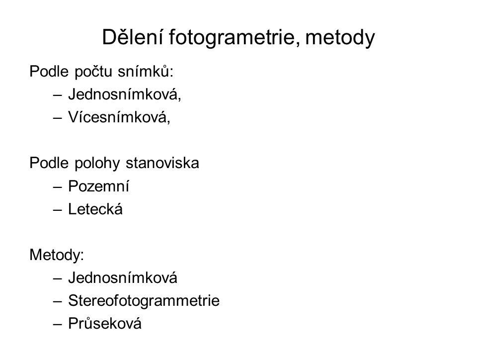 Dělení fotogrametrie, metody