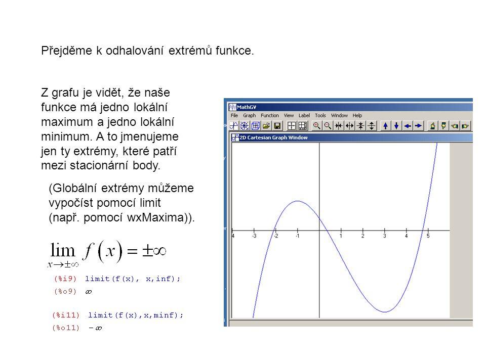 Přejděme k odhalování extrémů funkce.
