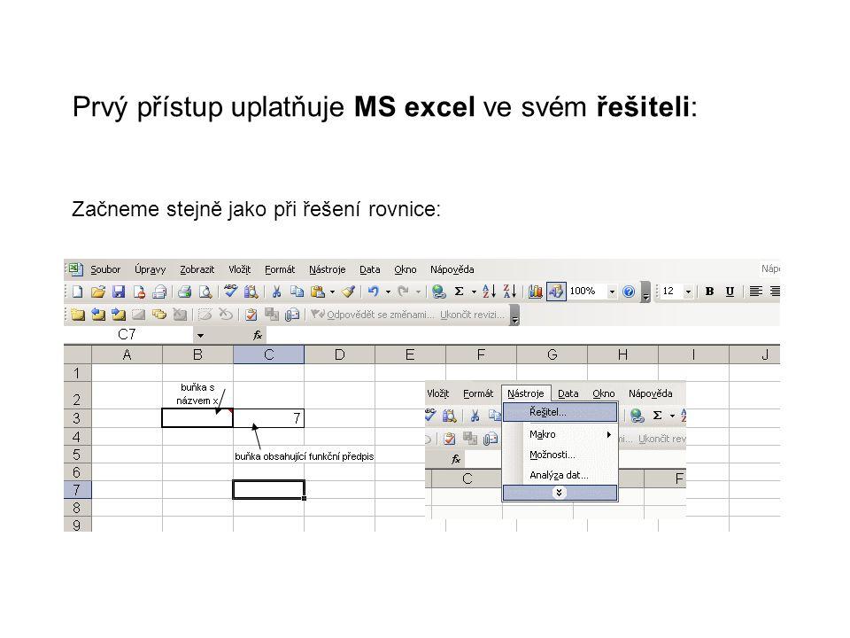 Prvý přístup uplatňuje MS excel ve svém řešiteli: