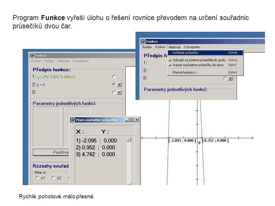 Program Funkce vyřeší úlohu o řešení rovnice převodem na určení souřadnic průsečíků dvou čar.