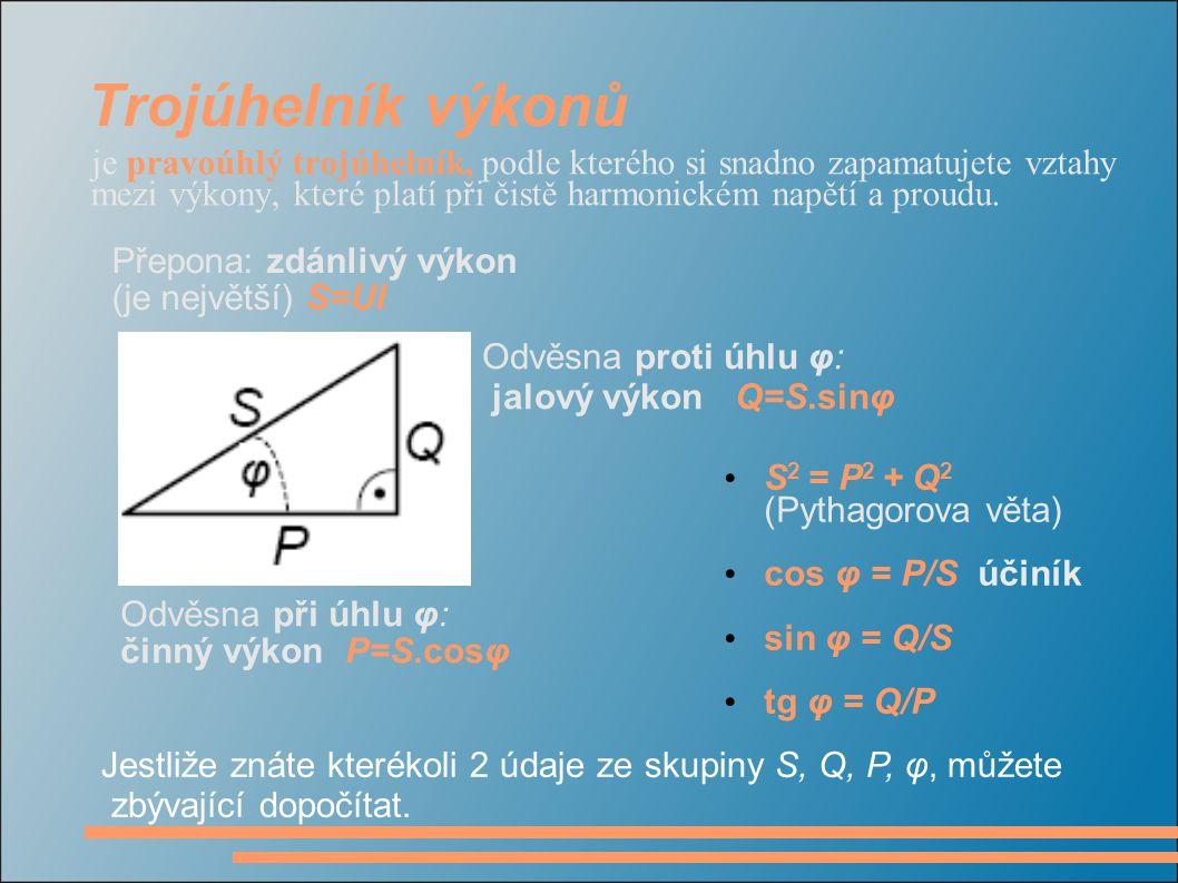 Trojúhelník výkonů Přepona: zdánlivý výkon (je největší) S=UI