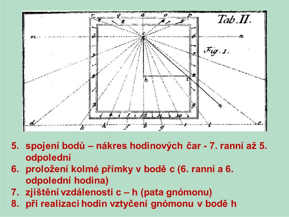 spojení bodů – nákres hodinových čar - 7. ranní až 5. odpolední