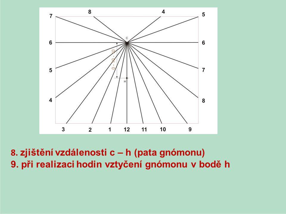 8. zjištění vzdálenosti c – h (pata gnómonu)