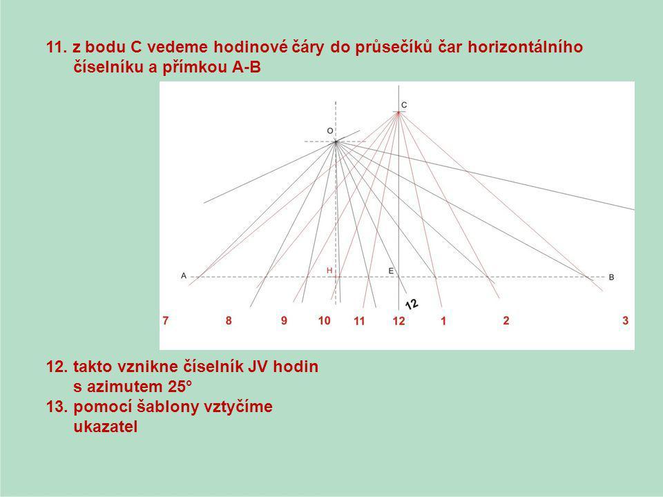 11. z bodu C vedeme hodinové čáry do průsečíků čar horizontálního číselníku a přímkou A-B