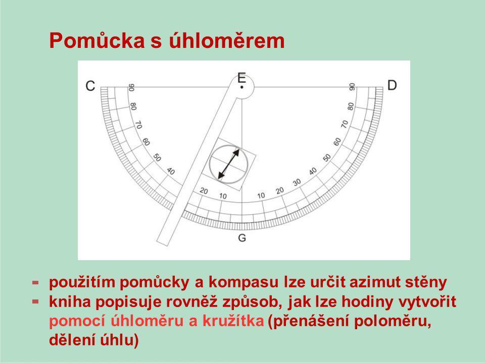 Pomůcka s úhloměrem použitím pomůcky a kompasu lze určit azimut stěny