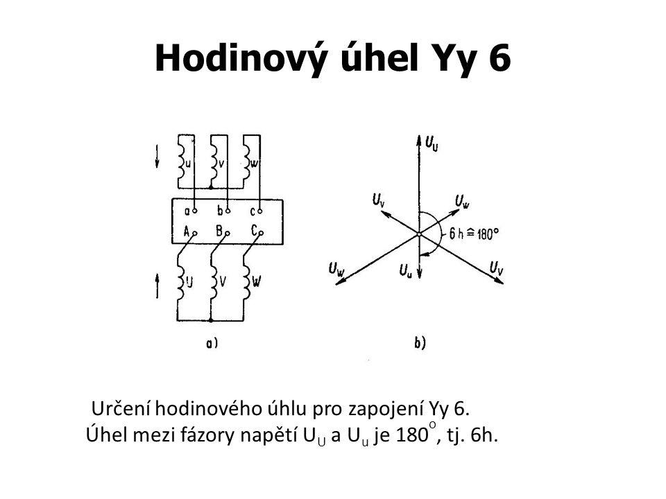 Hodinový úhel Yy 6 Určení hodinového úhlu pro zapojení Yy 6.