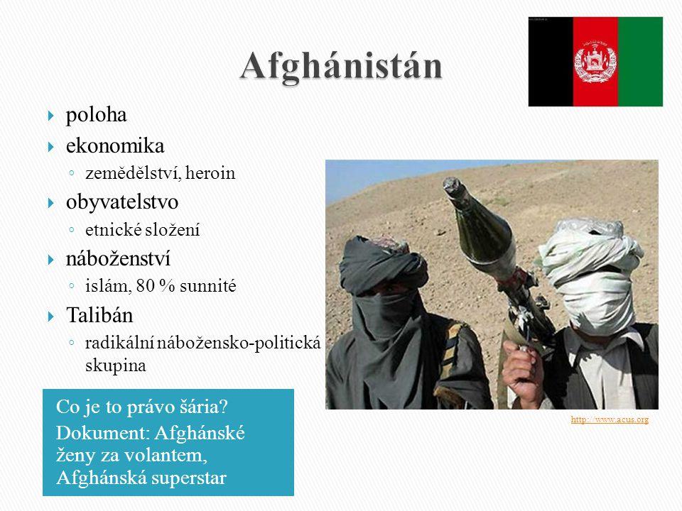 Afghánistán poloha ekonomika obyvatelstvo náboženství Talibán
