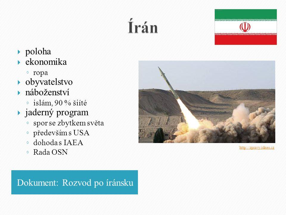 Írán poloha ekonomika obyvatelstvo náboženství jaderný program