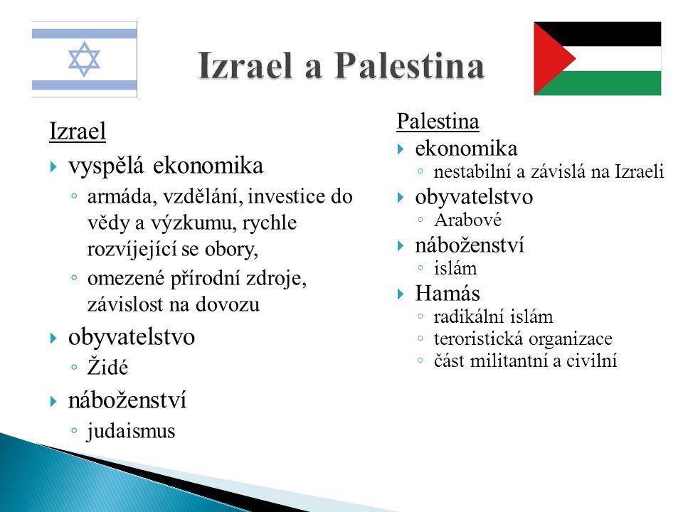 Izrael a Palestina Izrael vyspělá ekonomika obyvatelstvo náboženství