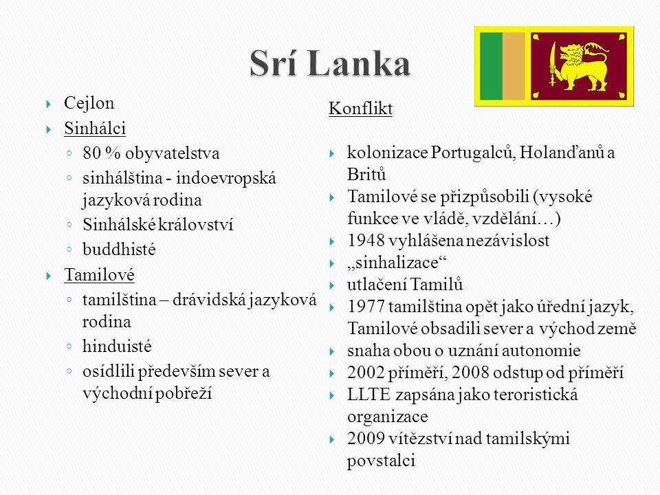 Srí Lanka Cejlon Konflikt Sinhálci 80 % obyvatelstva