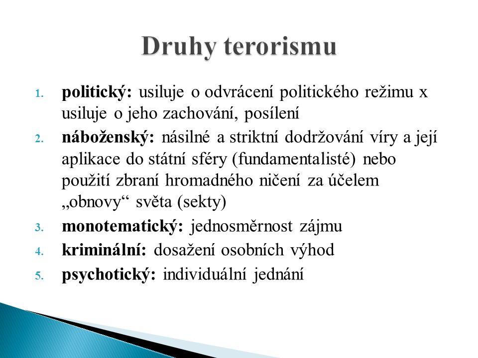 Druhy terorismu politický: usiluje o odvrácení politického režimu x usiluje o jeho zachování, posílení.